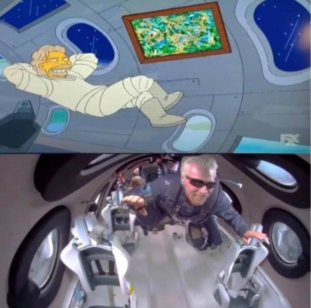 The Simpsons cartoons predicted Richard Branson's flight into space